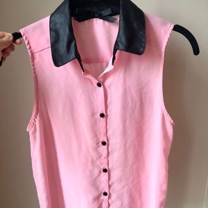 Ali & Kris Leather Collar Pink Button-Down Top S